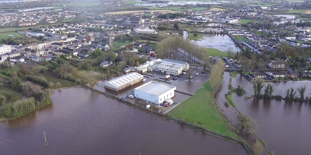 Mountmellick flooding in 2017.  Source Laois Civil Defence